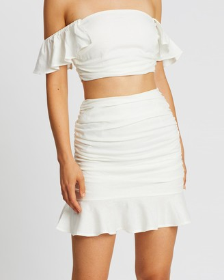 Santina Nicole SANTINA-NICOLE - Women's White Mini skirts - Sole Ruched Linen Skirt - Size One Size, 10 at The Iconic