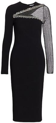 Pamella Roland Embellished Sequin Mesh Sleeve Sheath Dress