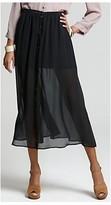 Joie Black Lotus Snap Front Half Sheer Maxi Skirt