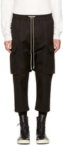 Rick Owens Black Drawstring Cropped Cargo Pants