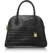 Michael Kors Mercer Large Black Embossed Croco Leather Dome Satchel Bag