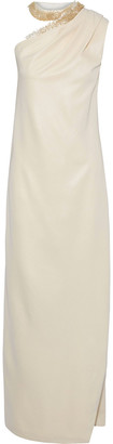 Halston One-shoulder Bead-embellished Satin-crepe Gown