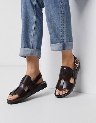 Grenson Willa brown leather sandals