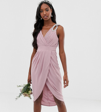 TFNC Tall bridesmaid exclusive wrap midi dress in pink