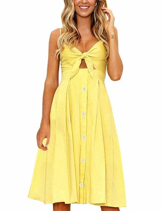 FANCYINN Womens Tie Front Dress Summer V-Neck Spaghetti Strap Dresses Button Down A-Line Midi Dress
