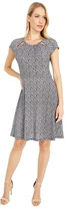 MICHAEL Michael Kors Paisley Geo Neck Dress (Black/White) Women's Dress