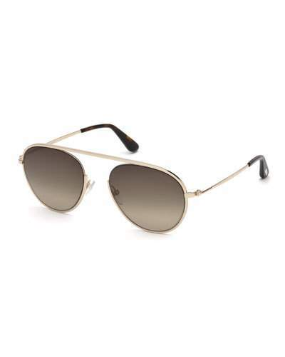 Tom Ford Keith Round Brow-Bar Metal Sunglasses, Rose Gold
