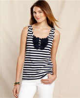 Tommy Hilfiger Top, Sleeveless Striped Ruffle Tank