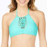 Arizona High Neck Macrame Front Halter Swimsuit Top-Juniors