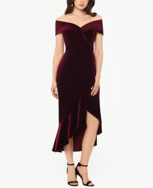 Xscape Evenings Off-The-Shoulder Velvet Midi Dress