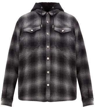 Eytys Alpha Checked Flannel Hooded Overshirt - Mens - Black Grey