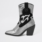 River Island Silver leather cutout cowboy ankle boots