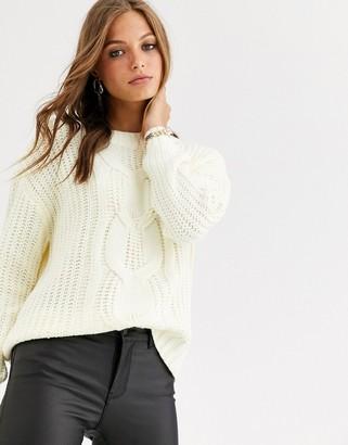 Vero Moda cable knit jumper-Beige