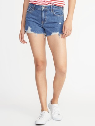 Old Navy Mid-Rise Boyfriend Distressed Cut-Off Jean Shorts for Women - 3 inch inseam