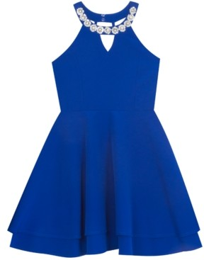 Rare Editions Big Girls Embellished-Neck Skater Dress