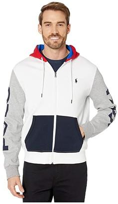 Polo Ralph Lauren Color Block Double Knit Tech Hoodie (White Multi) Men's Clothing