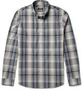 A.P.C. Slim-fit Button-down Collar Checked Cotton-poplin Shirt - Beige