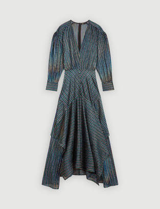 Maje Striped Lurex scarf dress