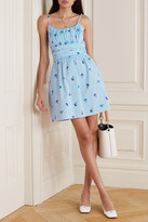 Thumbnail for your product : HVN Gathered Printed Stretch-cotton Poplin Mini Dress - Blue