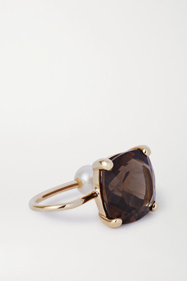 NATASHA SCHWEITZER Smokey Quartz 9-karat Gold, Quartz And Pearl Ear Cuff