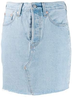 Levi's embroidered floral denim skirt
