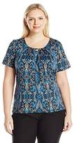 Notations Women's Plus Size Short Sleeve Scoop Printed Knit Pullover with Metal Trim At Neck