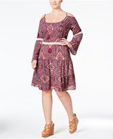 Love Squared Trendy Plus Size Printed Cold-Shoulder Peasant Dress