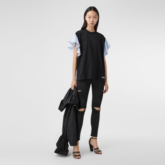 Burberry Ruffled Sleeve Cotton Oversized T-shirt