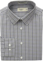 Haggar Men's Mechanical Stretch Glen Plaid Fancy Poplin Long Sleeve Shirt