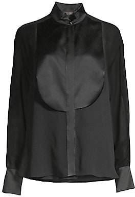 Max Mara Women's Danae Satin Chiffon Tuxedo Blouse