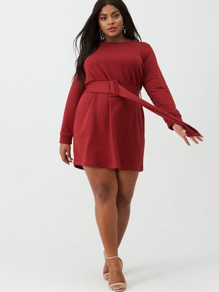 V By Very Curve Sweat Dress With Belt - Red