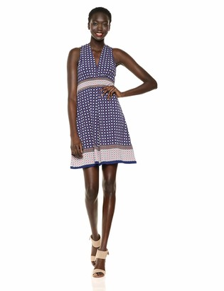 Max Studio Women's Pleated Front Printed Matte Jersey Halter Dress