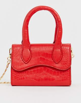 Asos Design DESIGN micro grab bag with curved flap and detachable strap-Red