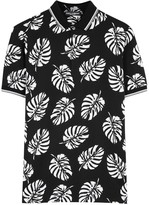 Dolce & Gabbana Black Leaf-print Piqué Cotton Polo Shirt