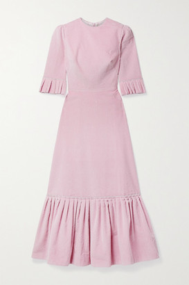The Vampire's Wife Festival Ruffled Cotton-corduroy Midi Dress - Baby pink