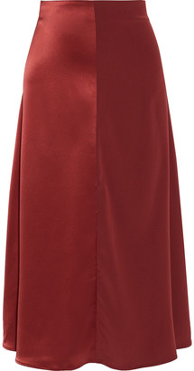 Co Paneled Satin And Crepe Midi Skirt