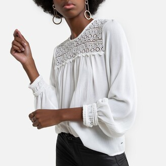 Pepe Jeans Embroidered Crepe Blouse with Long Sleeves
