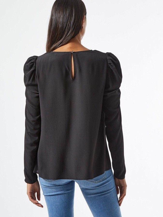 Thumbnail for your product : Dorothy Perkins Sustainable Long Sleeve Puff Shoulder Top - Black