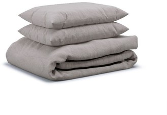 Flax Sleep Linen Duvet Set Pebble, Queen