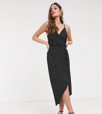 Asos DESIGN Petite cami wrap maxi dress in polka dot