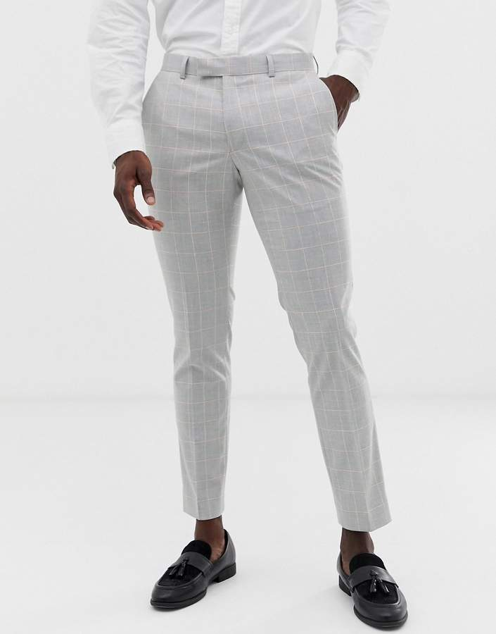 f328fe4b slim suit trouser in grey windowpane check with stretch