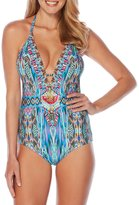 Laundry by Shelli Segal Abstract Feathers Plunge One-Piece