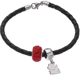 LogoArtSt. Louis Cardinals Crystal Sterling Silver & Leather Charm Bracelet