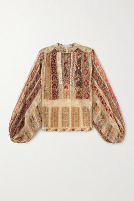 Etro Floral-print Silk-crepon Blouse - Beige