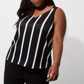 River Island Womens Plus Black sripe cross back strap cami top