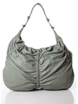Junior Drake Olive Green Leather Small Zippered Hobo Bag