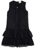 Armani Junior Girls' Ruffle Hem Chiffon Dress - Sizes- 4-16