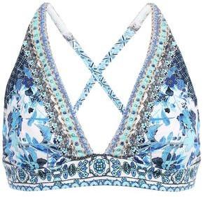 Camilla Crystal-embellished Floral-print Triangle Bikini Top