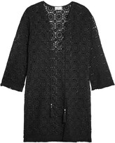 Miguelina Serena lace-up fringed crocheted cotton coverup
