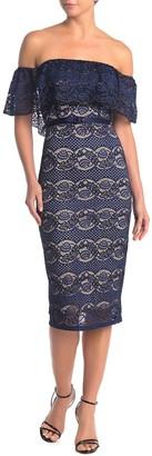 Endless Rose Off-the-Shoulder Midi Lace Dress